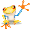 Waving Yellow Frog Clip Art