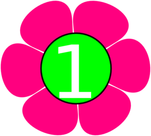 1 Pink Green Flower Clip Art