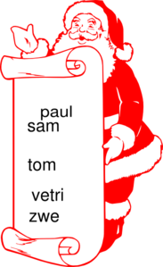 Santlist (with Words N Colour Or What Americans Call Color)  Clip Art