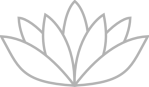 Grey Outlined Lotus Clip Art