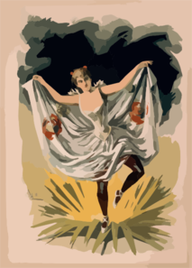 [woman In Dance Costume Dancing On Flower] Clip Art