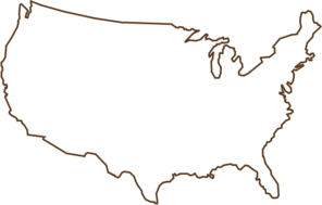 Outline Of United States Map Brown Clip Art