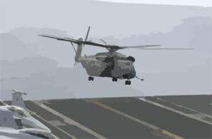 An Mh-53e Sea Dragon Assigned To The Blackhawks Of Helicopter Mine-counter-measures Squadron 15 (hm-15) Lands Aboard Uss Nimitz (cvn 68) Clip Art