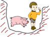 Boy In Pit With Pig Clip Art