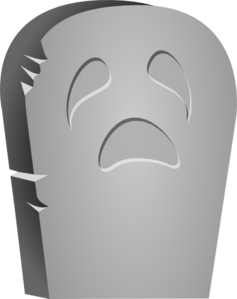 Rounded Tombstone With Sad Face Clip Art