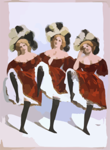[three Dancing Women In Red Costumes And Feathers] Clip Art