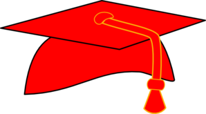 Graduation Cap - Red Fill - Black Background Clip Art