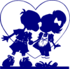 Dark Blue Valentine Kiss Clip Art