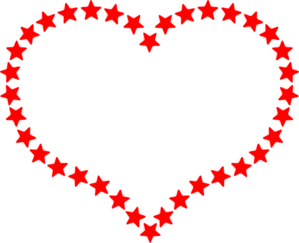 Red Star Outlined Heart Clip Art