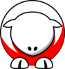 Sheep - White On Red No Eyeballs Only Sockets Red Toes Clip Art