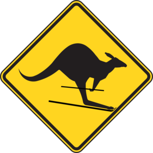 Skiing Kangaroo Warning Sign Clip Art