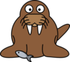 Walrus With Fish Clip Art