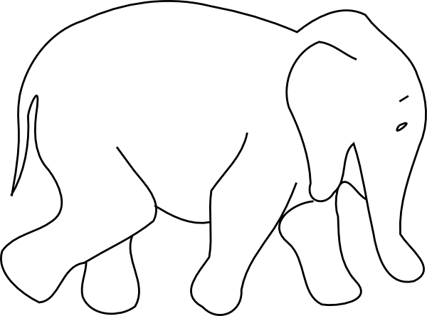 Out Line Drawing Of Animals : Elephant animal outline clip art at clker vector