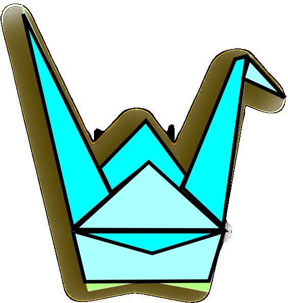 blue origami crane clip art at clker com vector clip art online rh clker com origami crane clip art clipart origami