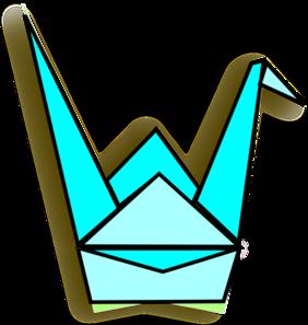 Blue Origami Crane Clip Art