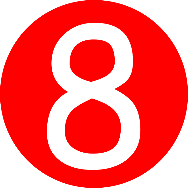 Red, Rounded,with Number 8 clip art