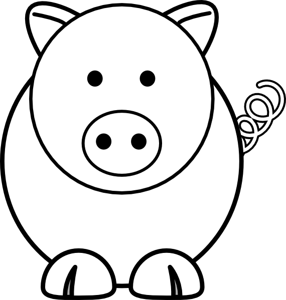 Line Drawing Of A Pig Face : Cartoon pig clip art at clker vector online