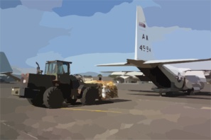 A U.s. Navy C-130t Hercules Assigned To The  Capital Express  Of Fleet Logistic Squadron Five Three (vr-53) Takes On Fresh Food For U.s. Forces. Clip Art