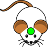 White Mouse W/ Green Cirlce Clip Art