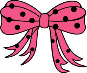 Polka Dots Bow Black Hot Pink Clip Art