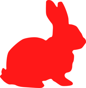 Red Bunny Silhouette Clip Art