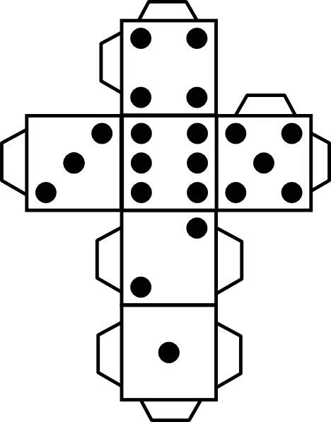 Geeky image inside dice printable