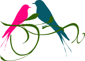 Love Birds Pink And Teal Clip Art