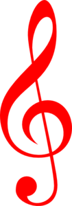 Red Treble Clef Clip Art