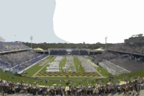 The U.s. Naval Academy Brigade Of Midshipmen March Into The Recently Renovated Jack Stephens Field Clip Art