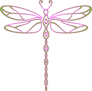 Pink And Green Dragonfly Clip Art