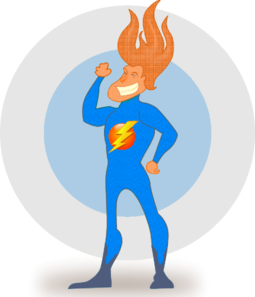Flaming Hair Super Hero Clip Art