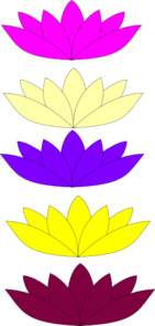 5 Mix Lotuses Clip Art