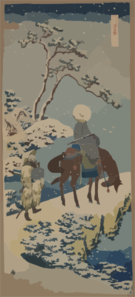 [two Travelers, One On Horseback, On A Precipice Or Natural Bridge During A Snowstorm] Clip Art