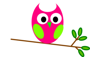 Pink And Green Owl Clip Art
