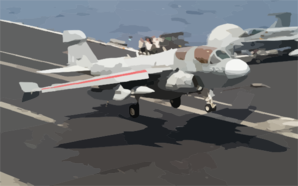 An Ea-6b Prowler Assigned To The  Shadowhawks  Of Electronic Attack Squadron One Forty One (vaq-141) Lands On The Flight Deck Of Uss Theodore Roosevelt (cvn 71). Clip Art