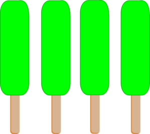 4 Green Single Popsicle Clip Art