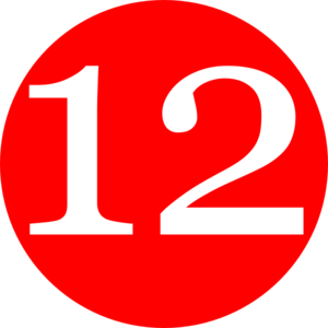 Red, Rounded,with Number 12 Clip Art