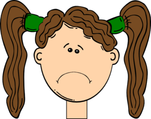 Sad Brown Hair Girl Clip Art
