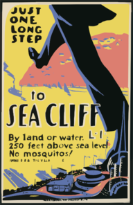 Just One Long Step To Sea Cliff, L.i. By Land Or Water : 250 Feet Above Sea Level : No Mosquitos! Clip Art