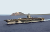 He Aircraft Carrier Uss Carl Vinson (cvn 70) Steams Away From Mount Suribachi And The Island Of Iwo Jima Clip Art