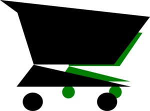 Shopping Cart Black Green Clip Art