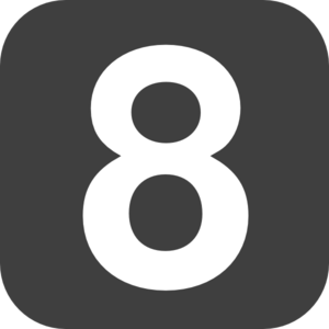 Number 8 Grey Flat Icon Clip Art