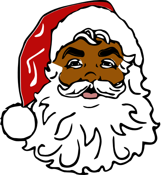 Santa Black Cli... Free Clip Art Santa And Reindeer