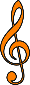 Treble Clef Orange Clip Art
