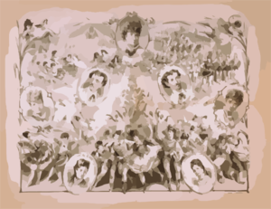[portraits Of Kiralfy Family And Lead Dancers With Scenes From Productions] Clip Art