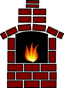 Brick Oven With Flame Clip Art