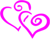 Hot Pink Intertwined Hearts Clip Art