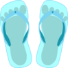 Thong Light Blue With Footprint Clip Art