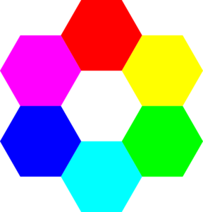 Rainbow Hexagons Clip Art