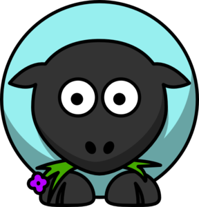 Sheep - Aqua - Purple Flower Eyes Clip Art